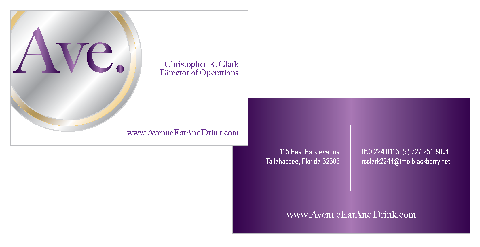 avenue eat & drink business card