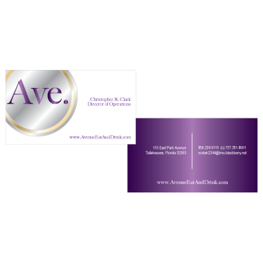 Avenue Eat & Drink Business Card Design